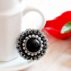 Black Magnetic Scarf Brooch