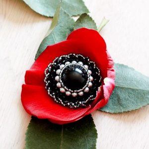 Black Beaded Magnetic Brooch