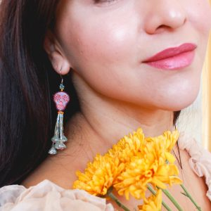 Pink Sugar Skull Tassel Earrings