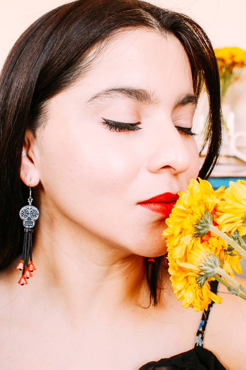 Elegant Day Of The Dead black sugar skull and coral floral tassel dangle earrings #sugarskullearrings #handmadeearrings #dayofthedeadjewelry #flowerearrings #skullearrings