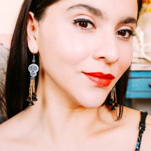 Day Of The Dead Black Sugar Skull Earrings