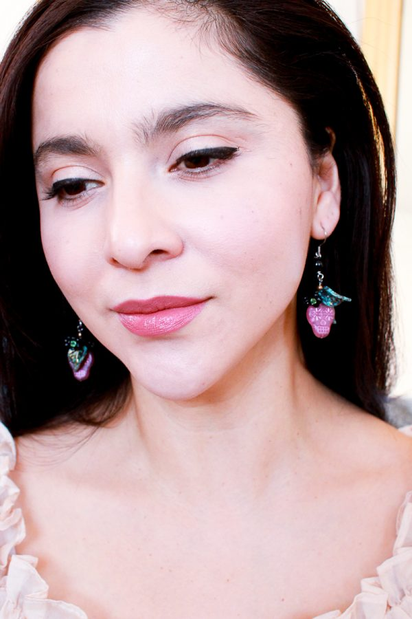 Pink Sugar Skull Earrings by Kaleidoscopes And Polka Dots
