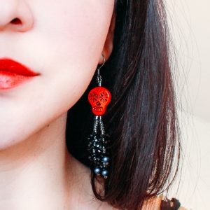 Day Of The Dead Red Sugar Skull Tassel Earrings