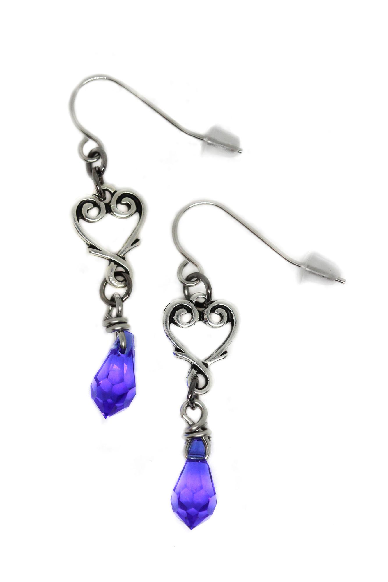 Anna May Sapphire Heart Shaped Earrings