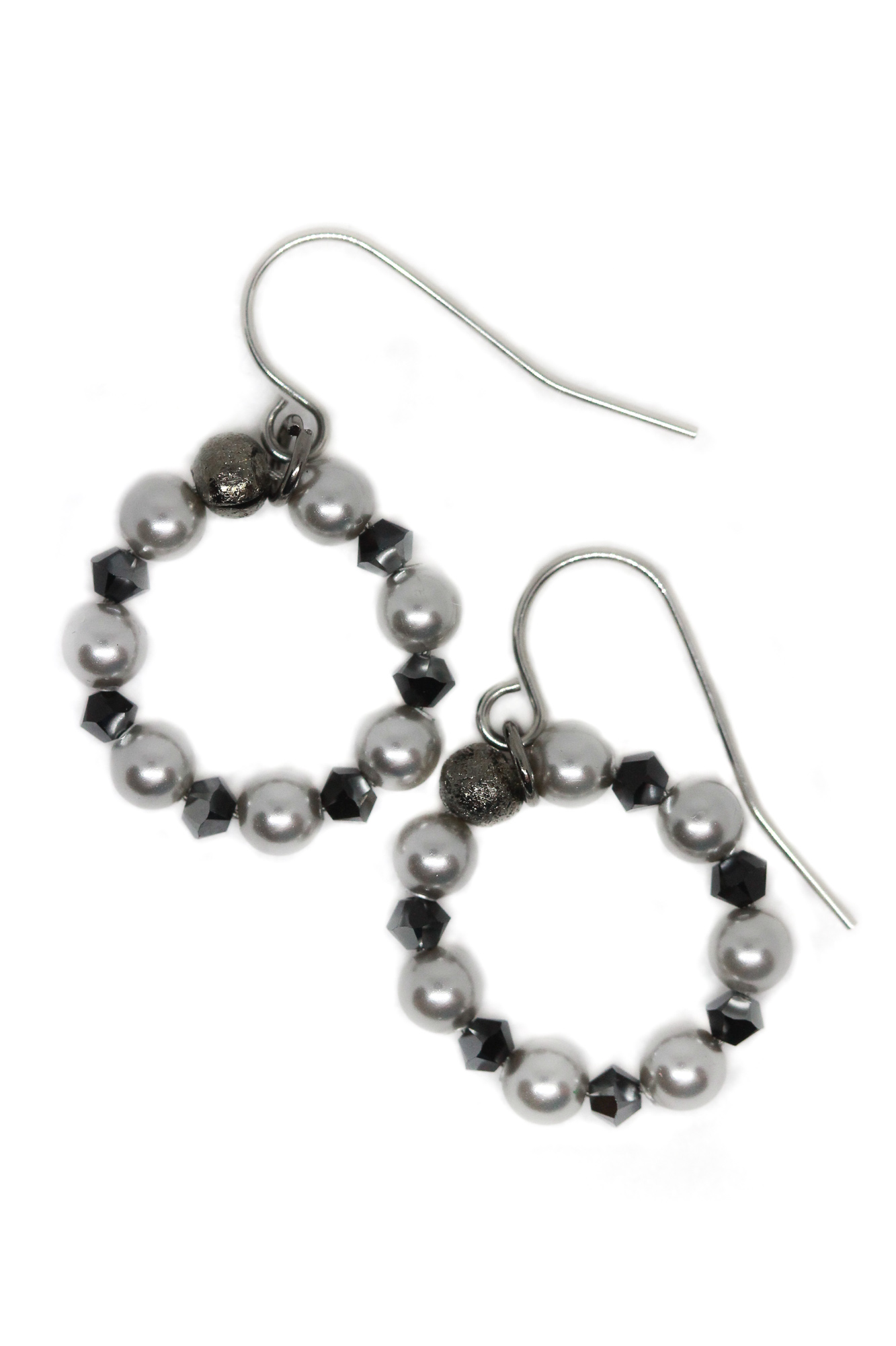 Clara Small Silver Pearl Hoop Earrings