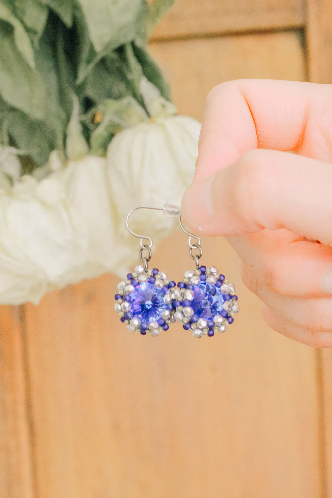 Blue Handmade Crystal Drop Earrings