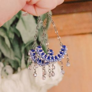 Blue Crystal Chandelier Beaded Earrings
