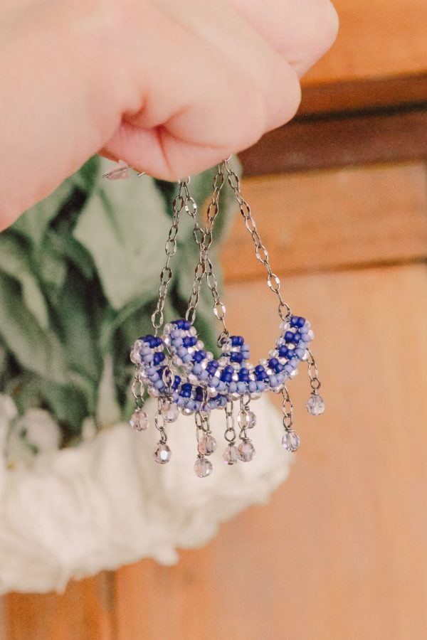 Chandelier earrings delicately made with tiny beads of various shades of blue and silver accents – a timeless set of earrings #somethingblue #bridalaccessories #vintageinspired #statementearrings #hottahaveit