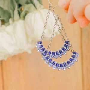 Classic Blue Handmade Long Drop Earrings