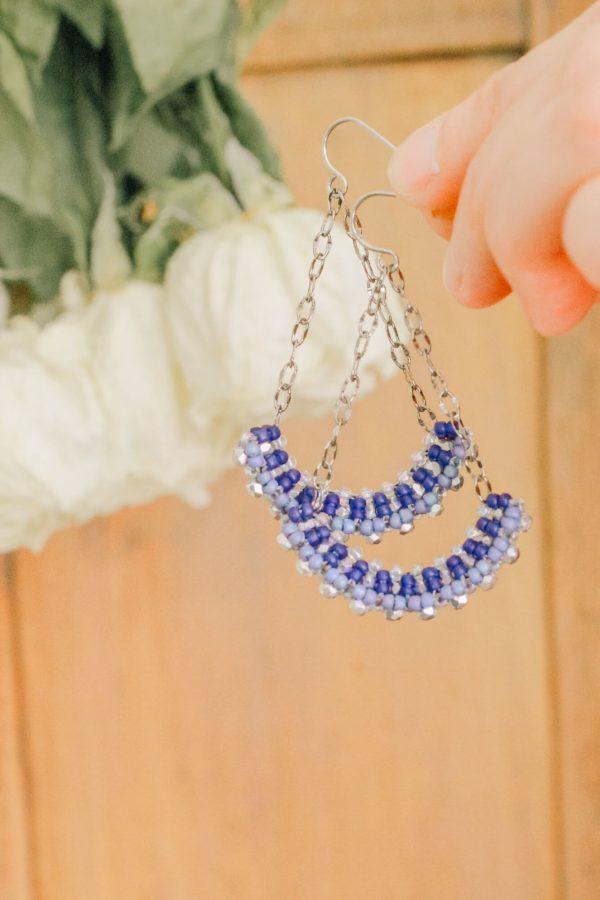 Classic Blue Handmade Long Drop Earrings