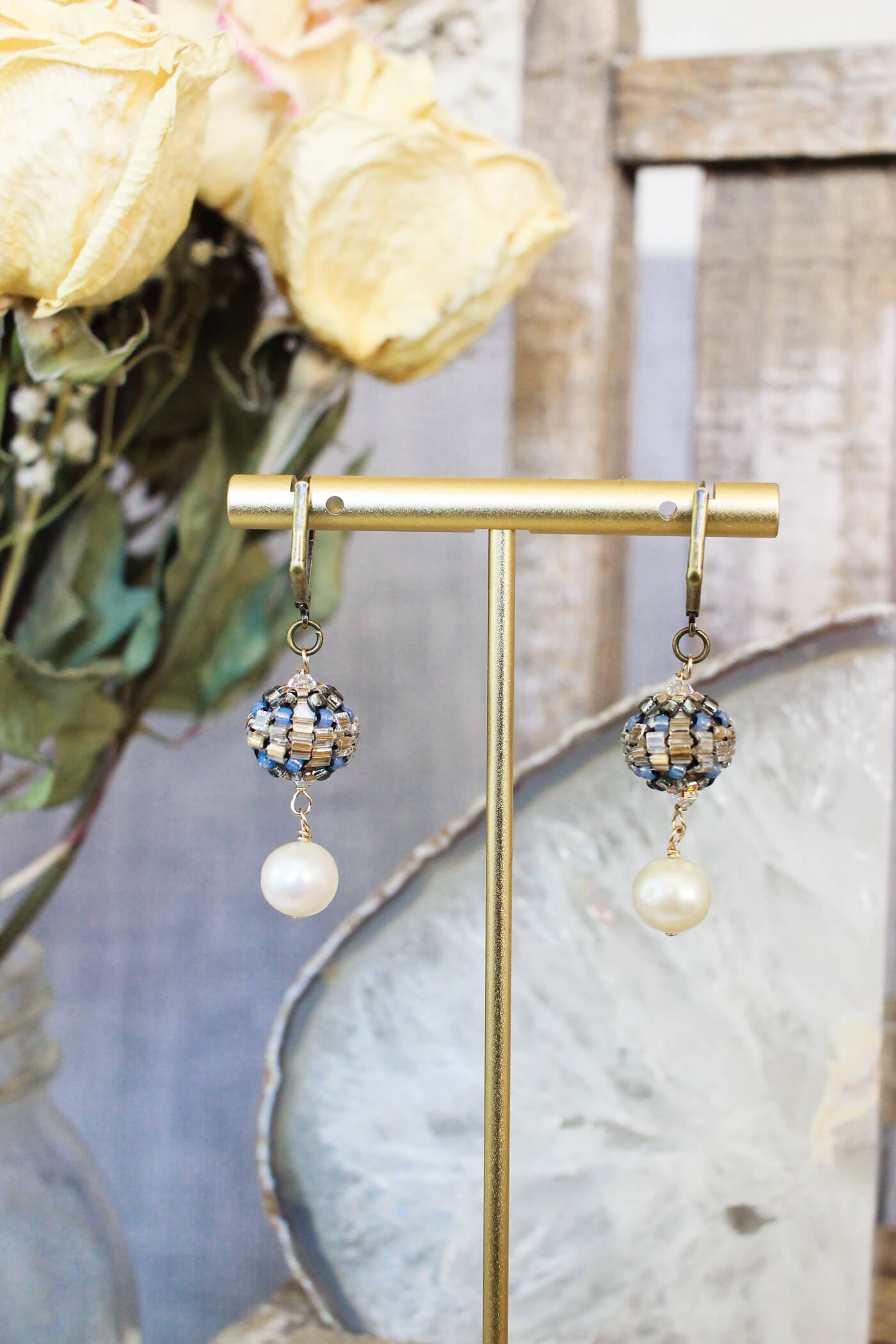 Designer Pearl Drop Earrings with Blue & Gold Bead Embroidery Detail – A Perfect Accessory For A Wedding