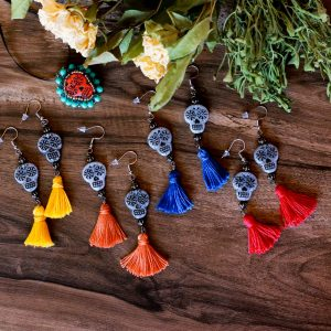 Sugar Skull Tassel Earrings by Kaleidoscopes And Polka Dots