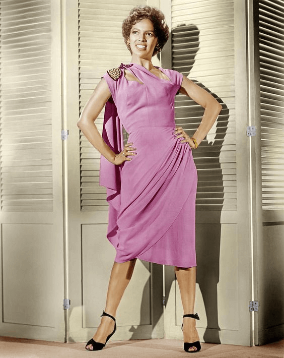 Carmen Jones in pink dress