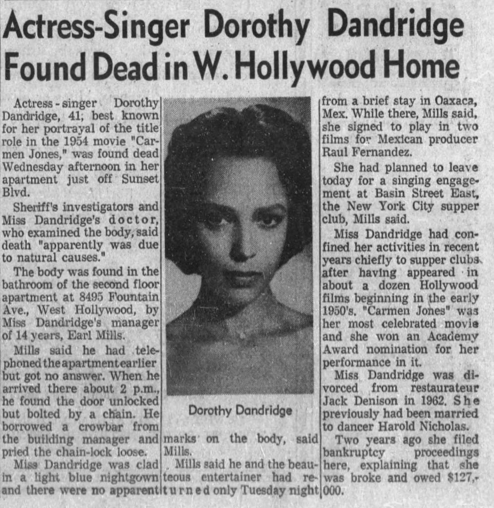 Dorothy Dandridge Death