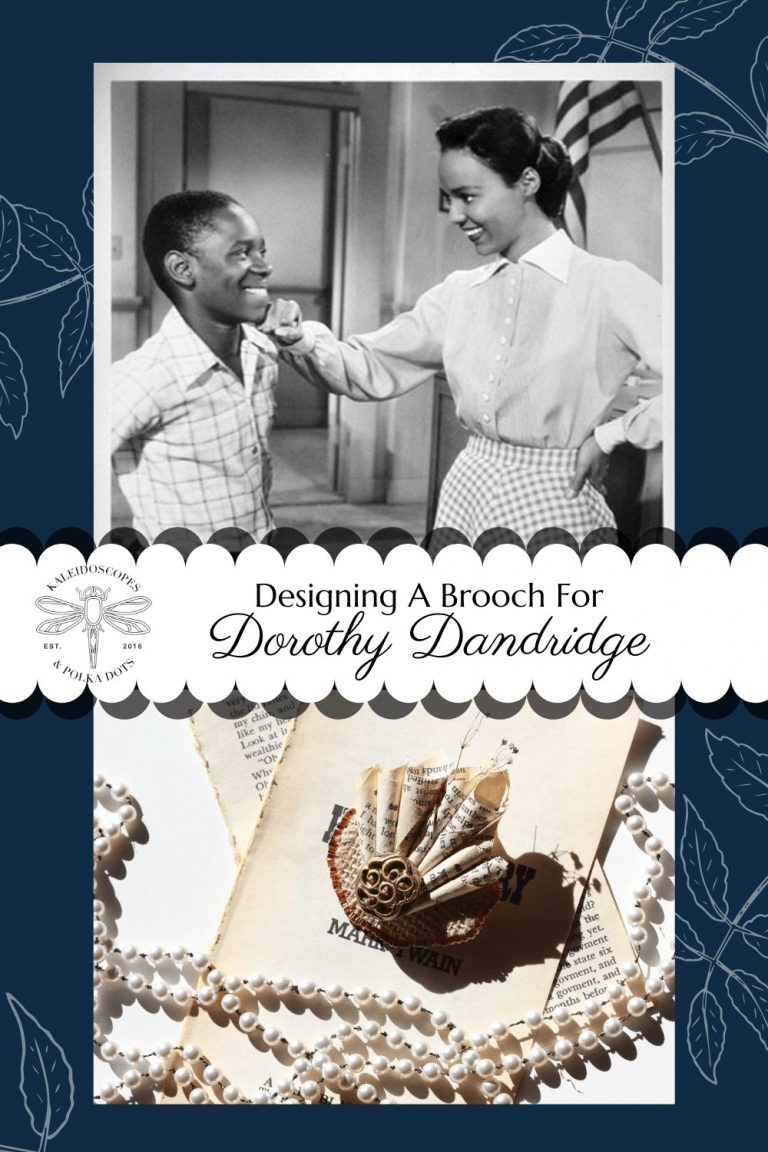 Dorothy Dandridge inspired the world through her work. In Bright Road, she dared young children to imagine themselves in her shoes. In this post, I've designed a brooch especially for Dorothy as Miss. Richards. #dorothydandridge #brightroad #vintageinspired #retrochic #paperbrooch #vintageaesthetic