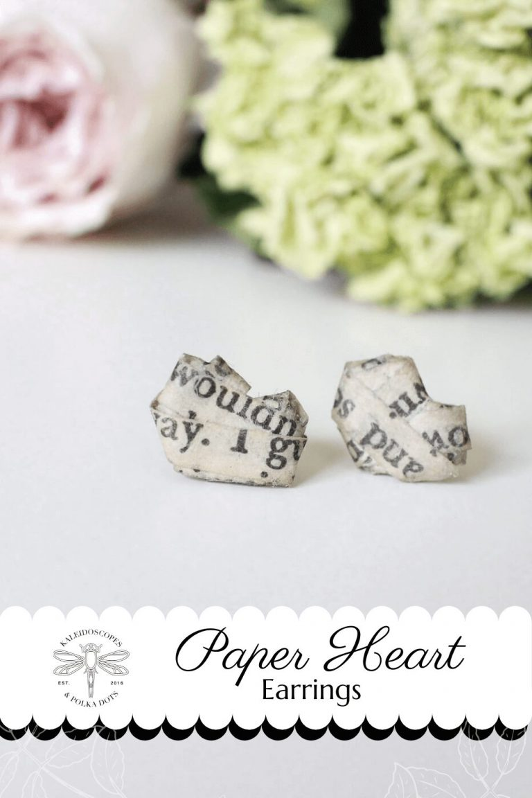 Tiny Paper Heart Stud Earrings #paperhearts #paperjewelry #handmadewithlove #booklove