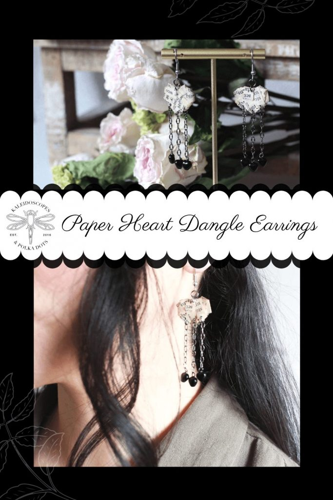 Delicate paper heart dangle earrings make the perfect addition to anyone's jewelry collection #paperjewelry #handmadejewelry #paperhearts #designerjewelry #handmadeearrings