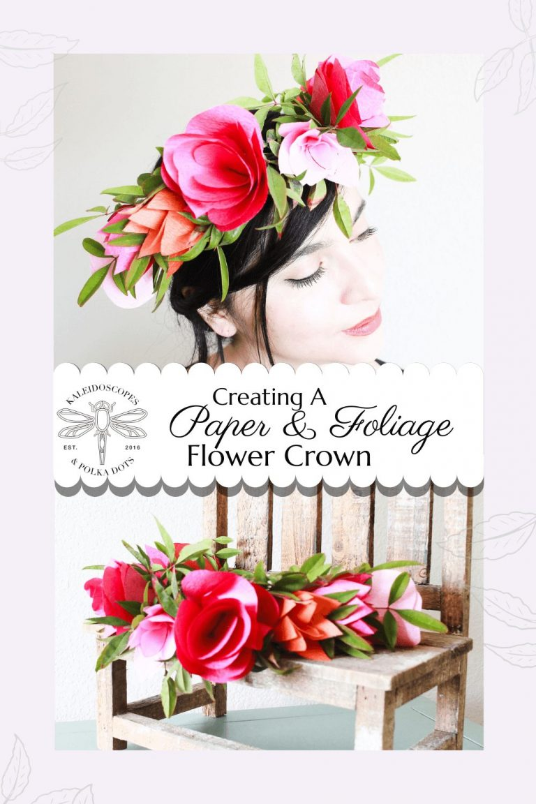 Using paper flowers, jewelry wire, and foliage to create a mixed media flower crown #flowercrown #diy #papercraft #crafty