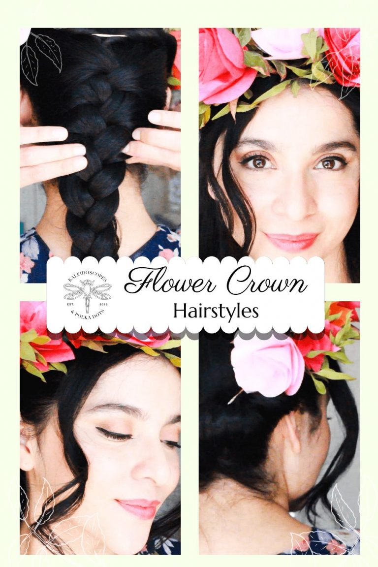 Dress up your flower crown with one of these fun and easy hair do's. #flowercrown #flowercrownhairstyles #weddinghairstyles #weddinghair