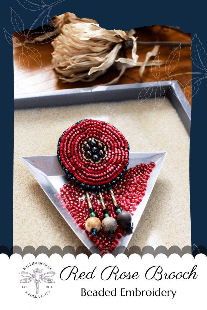 Red beaded brooch designed with Frida Kahlo's style in mind. #handmadejewelry #fridakahlostyle #fidakahlofashion #fridakahlolove #foreverfrida