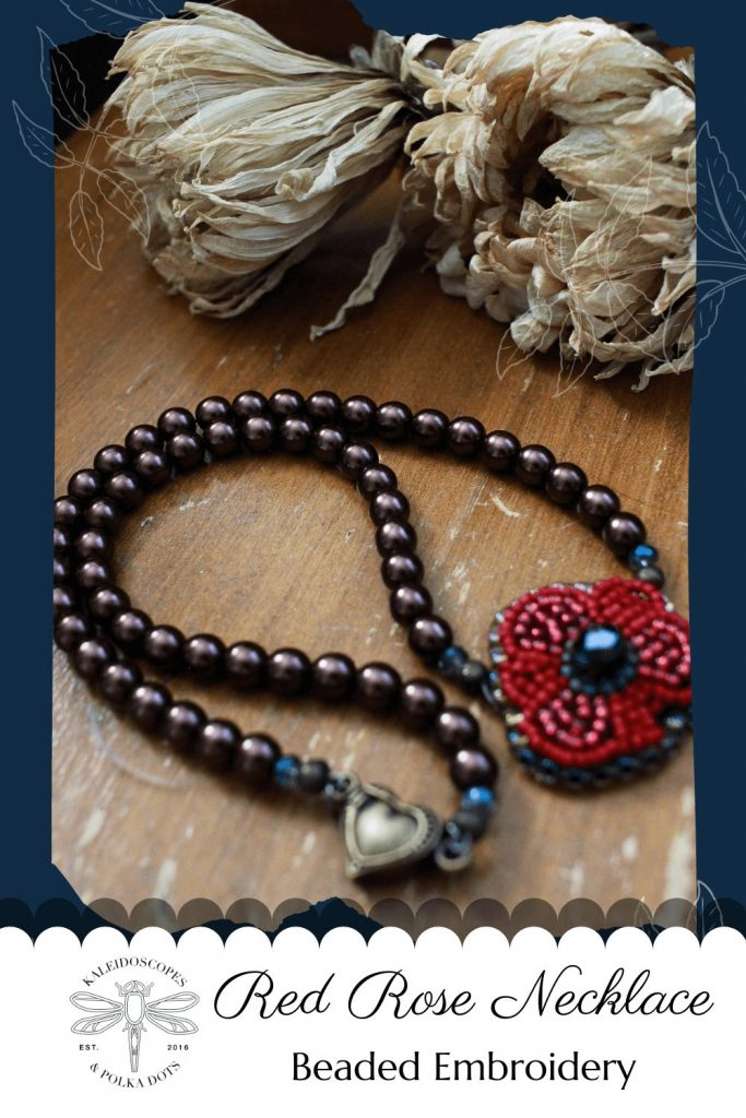 This red rose necklace is one of the first designs for the Frida Kahlo inspired jewelry collection. It's made with a mix of bold colored seed beads and glass beads. #redrosenecklace #redrosejewelry #fridakahloinspired #fridastyle