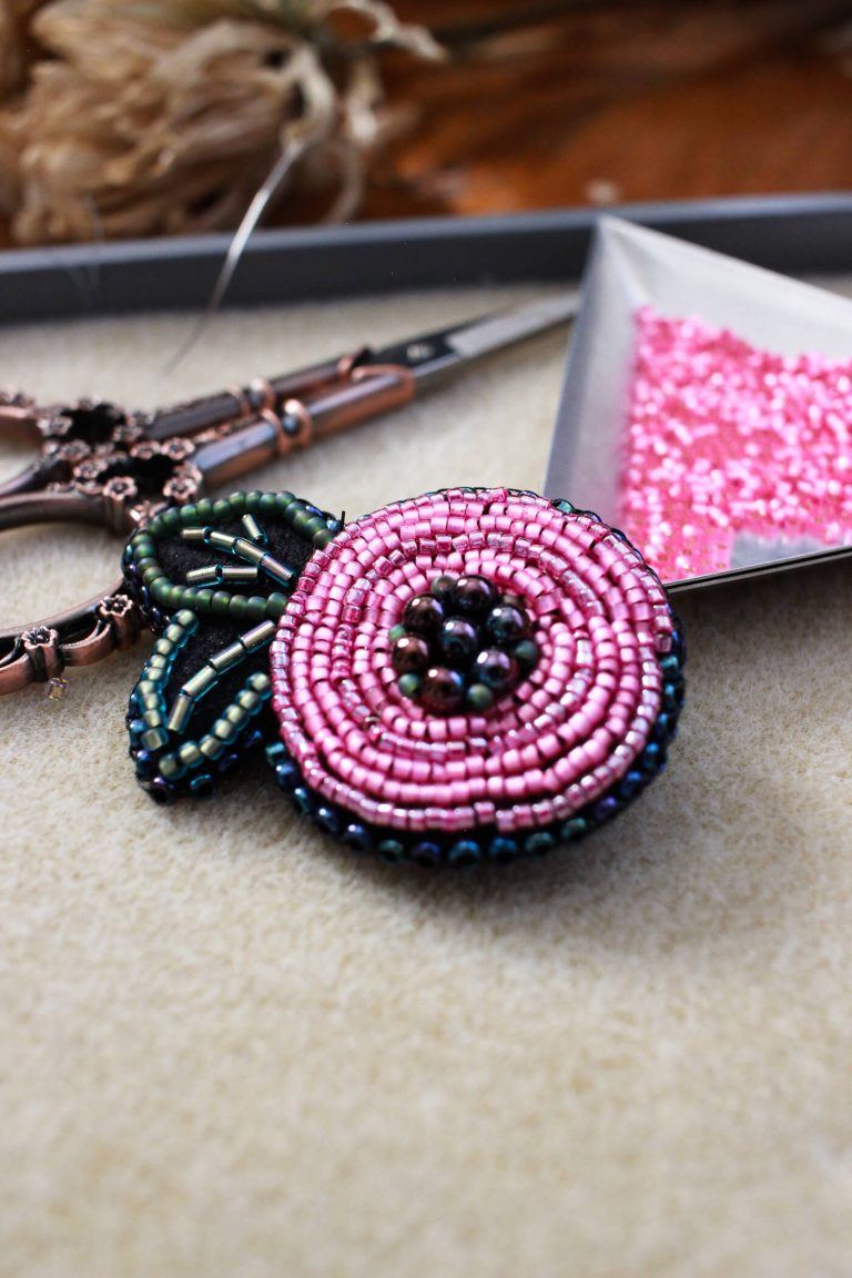 A mix of hot pink seed beads combine to create a uniform rose design. Not providing enough dimension; therefore, this piece does not make it to the final collection of Frida Kahlo inspired jewelry. #handmadejewelry #bringbackthebrooch #fridakahloinspired #foreverfrida