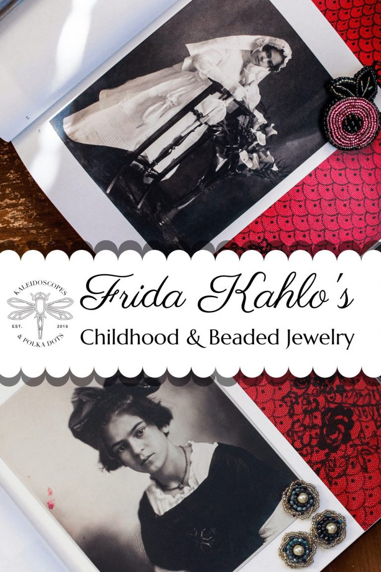 Frida Kahlo had an amazing short life. She had many challenges to contend with but persevered nonetheless. This post covers her life & original pieces of handmade jewelry. #fridakahlo #fridakahloinspiration #fridakahlolovers #fridakahlochildhood