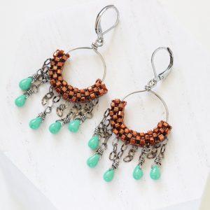 Copper Hoop Earrings - Hypoallergenic Earring Set by Kaleidoscopes And Polka Dots