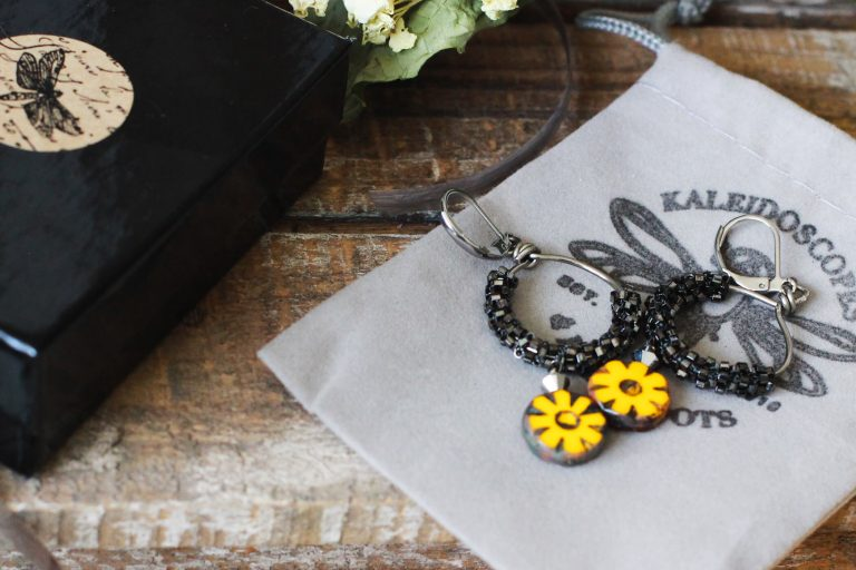 Gold Flower Earrings & Handmade Designer Jewelry Packaging by Kaleidoscopes And Polka Dots