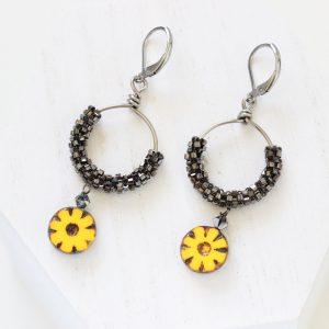 Gold Flower Earrings - Yellow Flower Drop Earrings
