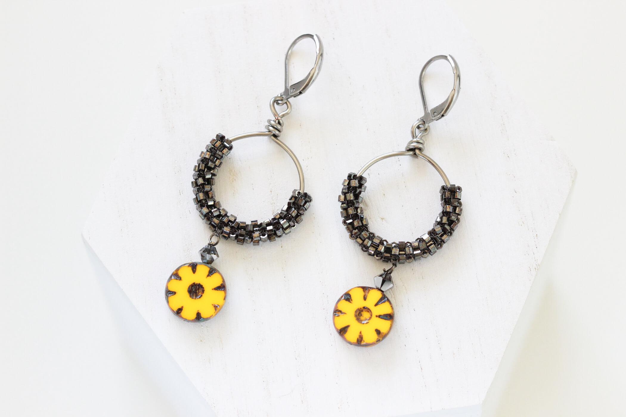 Gold Flower Earrings – Yellow Flower Drop Earrings
