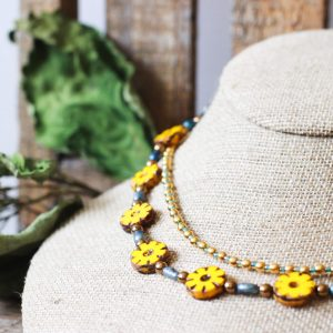 Mexican Beaded Necklace With Yellow Flowers by Kaleidoscopes And Polka Dots