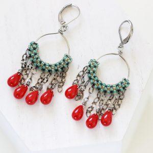 Green Beaded Earrings - Green Hoop Earrings by Kaleidoscopes And Polka Dots