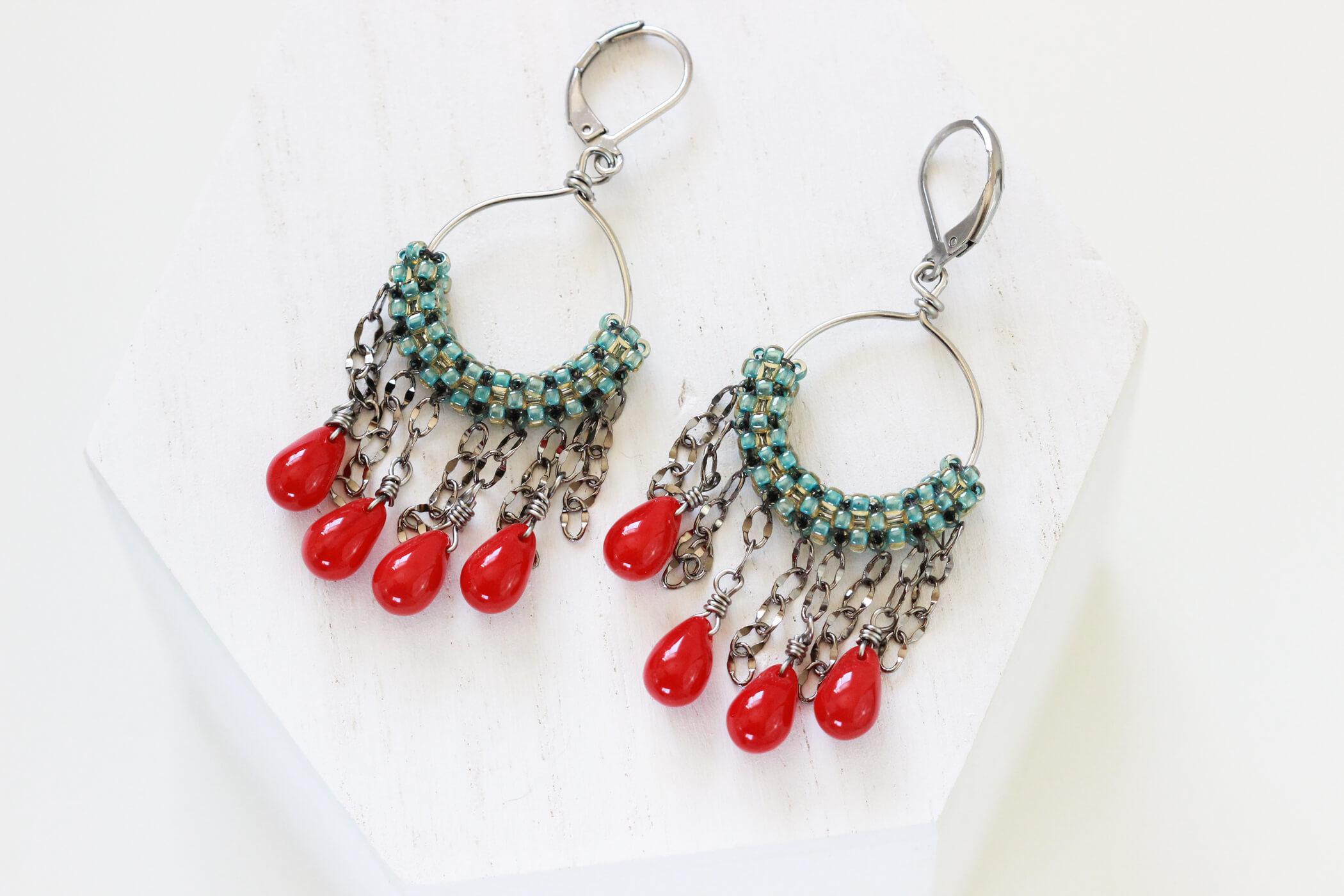 Green Beaded Earrings – Green Hoop Earrings by Kaleidoscopes And Polka Dots