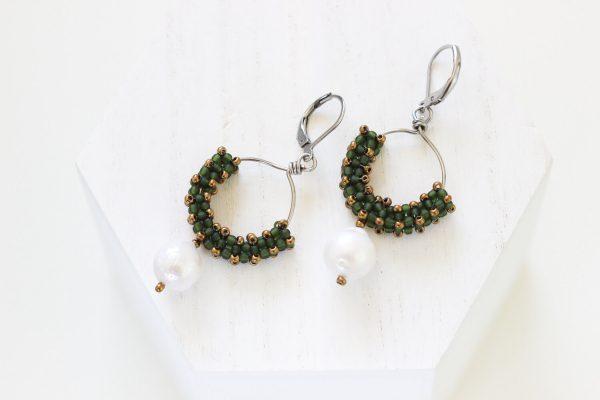 Green Hoop Earrings - Baroque Pearl Earrings by Kaleidoscopes And Polka Dots