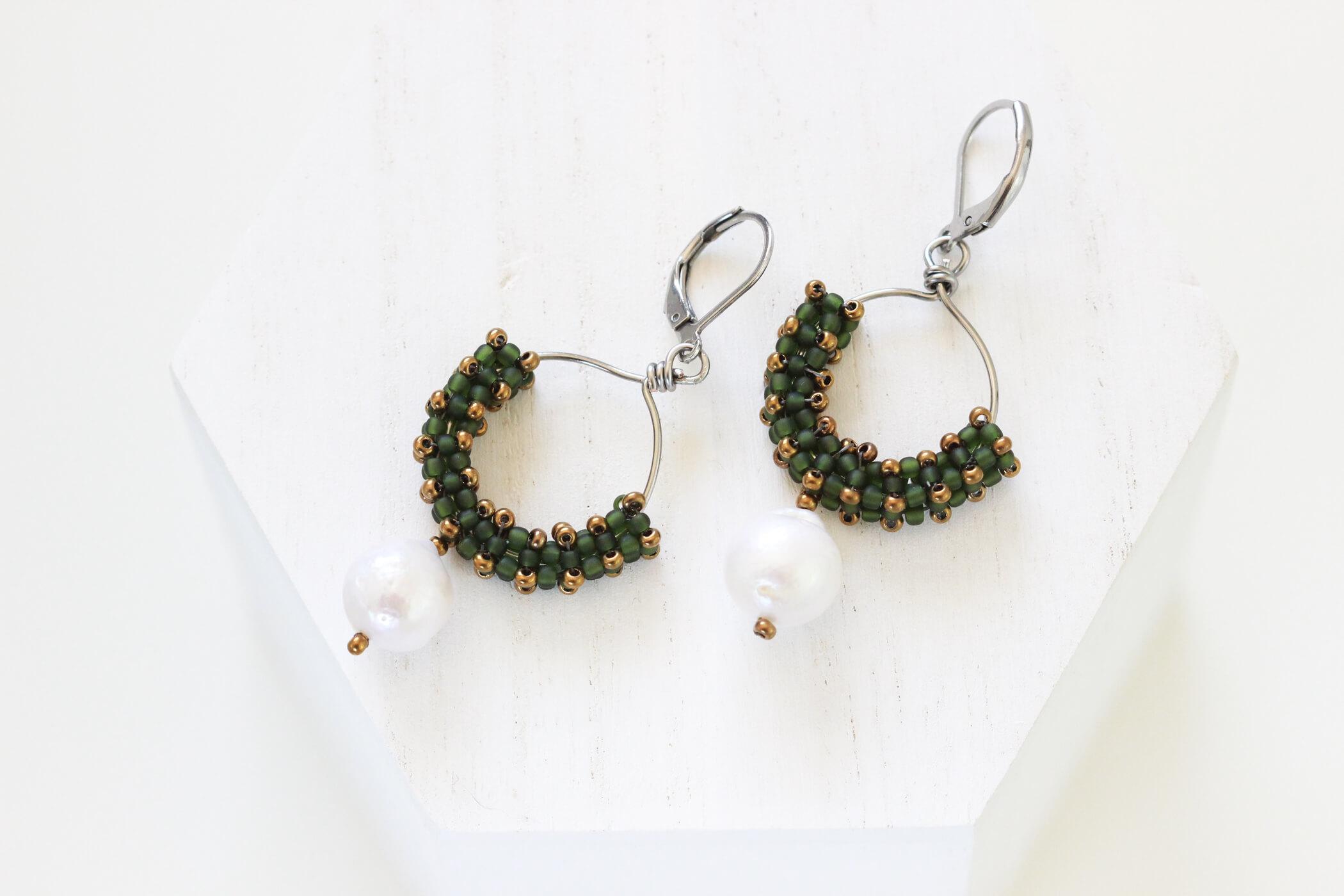 Green Hoop Earrings – Baroque Pearl Earrings by Kaleidoscopes And Polka Dots
