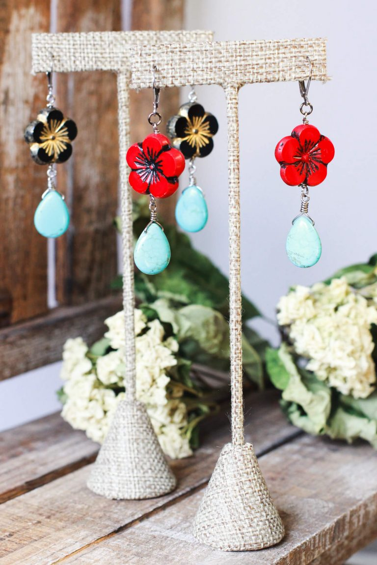 Red Flower Earrings & Black Flower Earrings - Mexican Style Jewelry Collection by Kaleidoscopes And Polka Dots