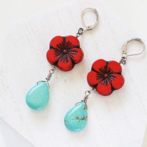 Red Flower Earrings - Simple Drop Earrings by Kaleidoscopes And Polka Dots