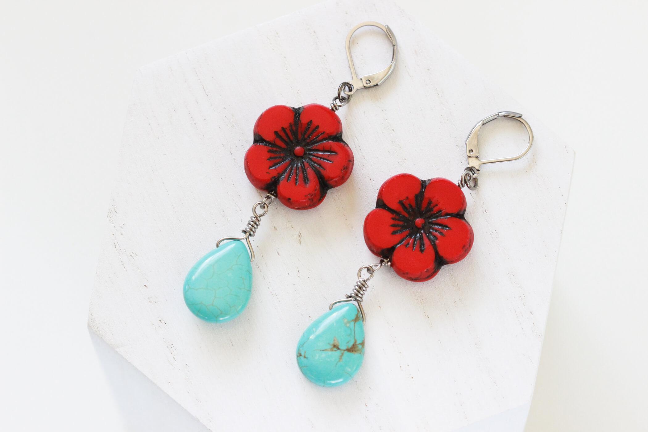 Red Flower Earrings – Simple Drop Earrings by Kaleidoscopes And Polka Dots