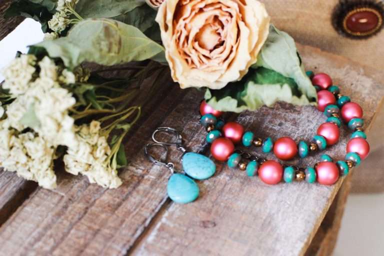 Turquoise Drop Earrings & Mexican Beaded Necklace by Kaleidoscopes And Polka Dots