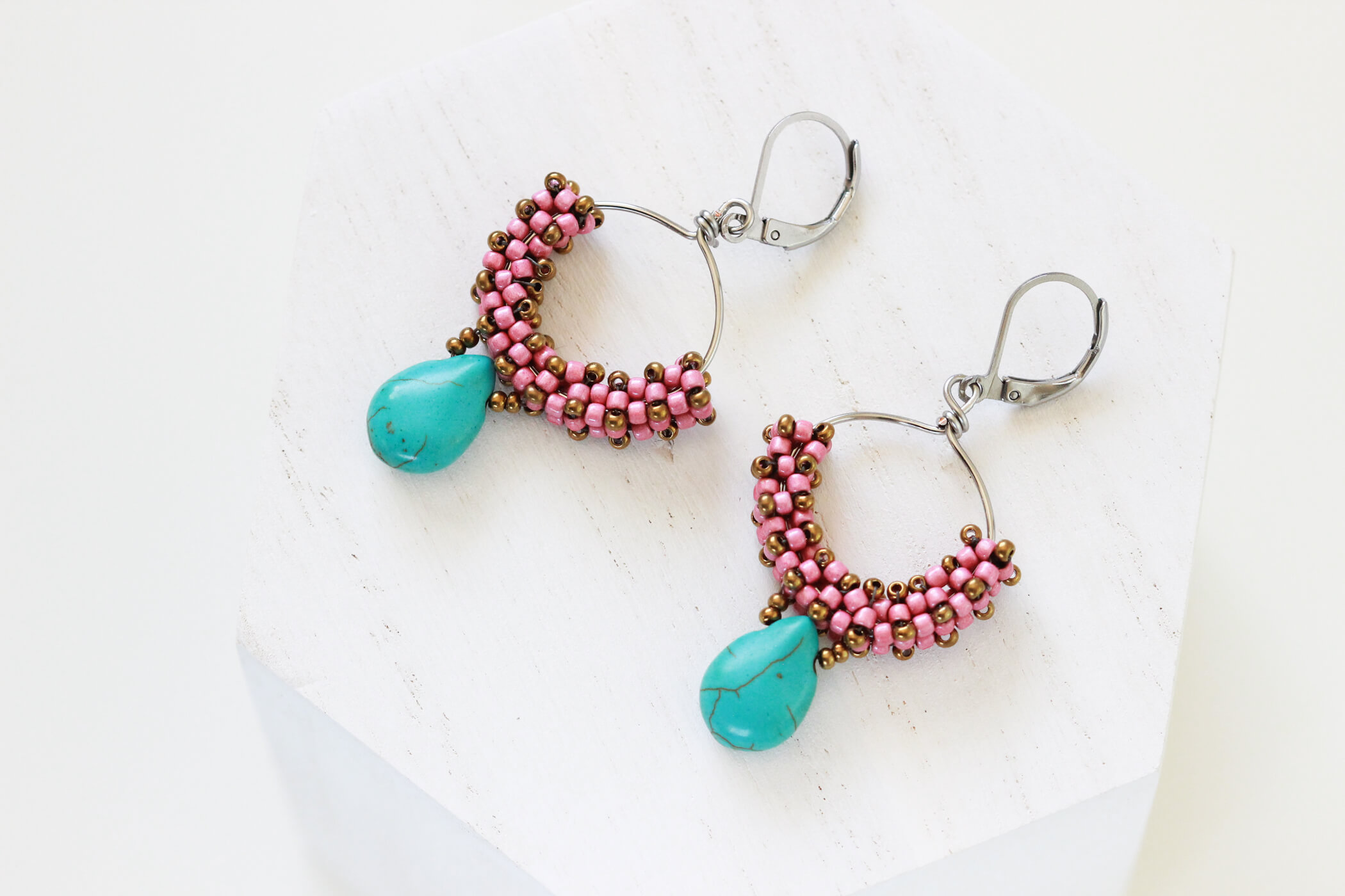 Turquoise Beaded Earrings – Beaded Hoop Earrings by Kaleidoscopes And Polka Dots