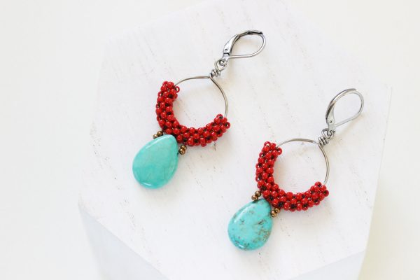 Turquoise Dangle Earrings - Red Statement Earrings by Kaleidoscopes And Polka Dots