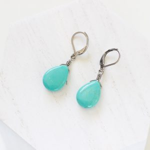 Turquoise Drop Earrings - Handmade Designer Jewelry by Kaleidoscopes And Polka Dots
