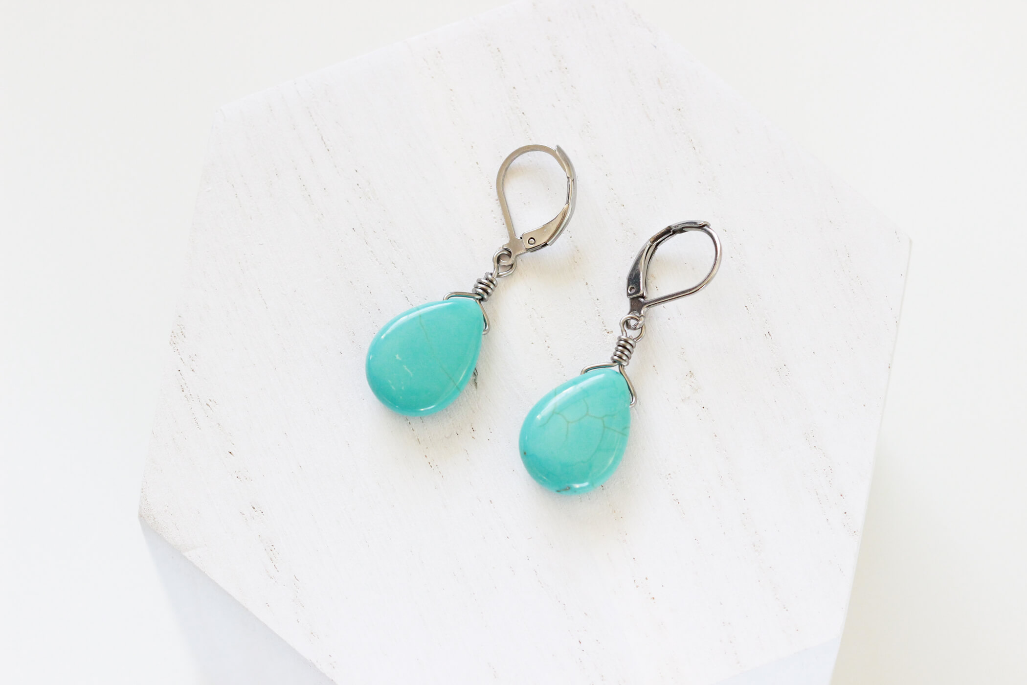 Turquoise Drop Earrings – Handmade Designer Jewelry by Kaleidoscopes And Polka Dots