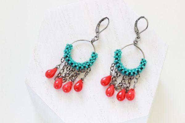 Turquoise Hoop Earrings - Handmade Designer Jewelry by Kaleidoscopes And Polka Dots