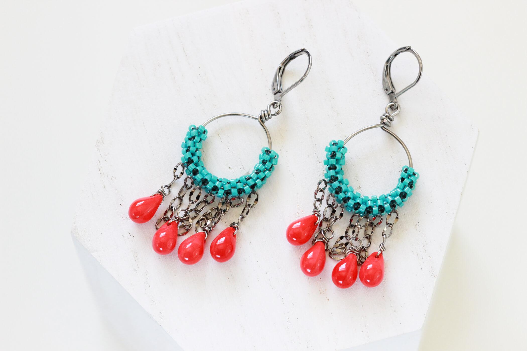 Turquoise Hoop Earrings – Handmade Designer Jewelry by Kaleidoscopes And Polka Dots