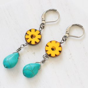 Yellow Flower Drop Earrings - Earrings For Work by Kaleidoscopes And Polka Dots