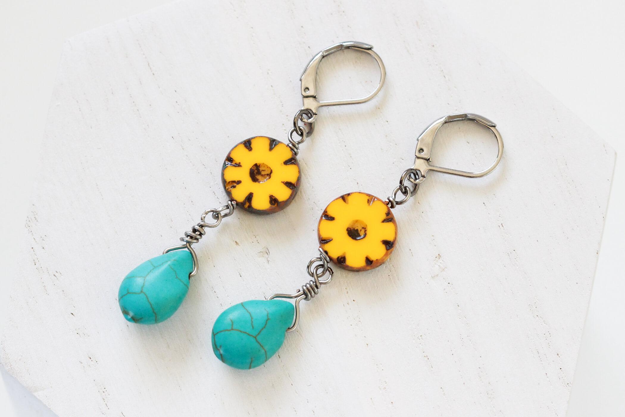 Yellow Flower Drop Earrings – Earrings For Work by Kaleidoscopes And Polka Dots